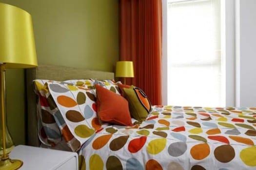 Schlafzimmer Wandfarbe   Farbgestaltung Schlafzimmer Grün Und Orange