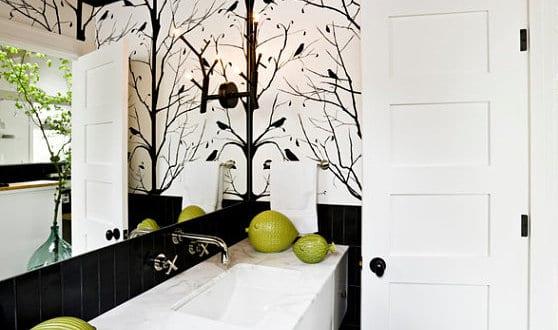 Wadezimmer Schwarz Weiß Badezimmer Wandtattoo Baum