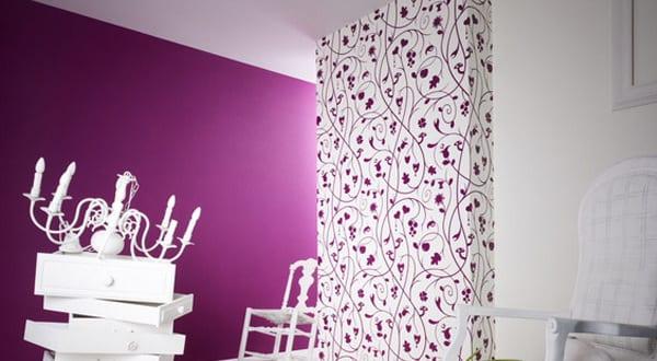 wand streichen ideen- wohnzimmer lila - fresHouse