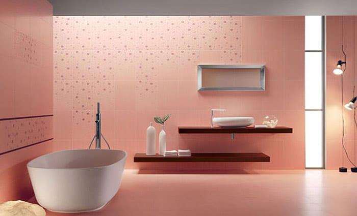 Wandfarbe Apricot- Badezimmer Fliesen Idee - Freshouse