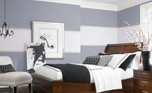 wandfarbe grau graue wand mit wei en streifen freshouse. Black Bedroom Furniture Sets. Home Design Ideas