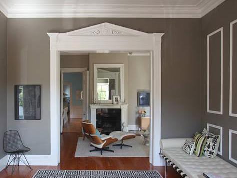 Wandfarbe grau mit weißen rahmen