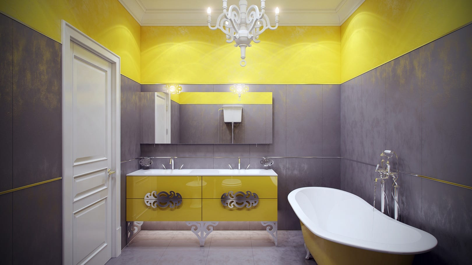 wandfarbe grau modernes badezimmmer freshouse. Black Bedroom Furniture Sets. Home Design Ideas