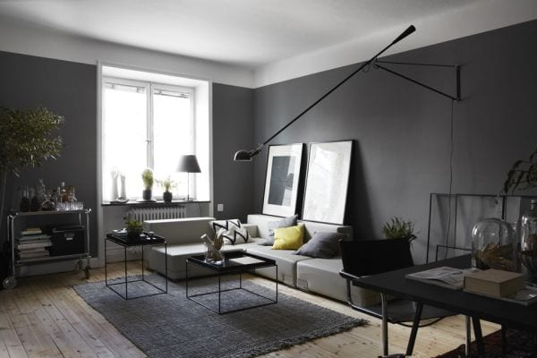 Wandfarbe Grau Modernes Wohnzimmer