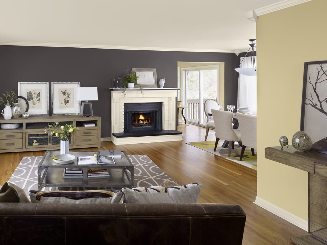 Schon Wandfarbe Grau Wohnzimmer Gestalten Mit Kamin