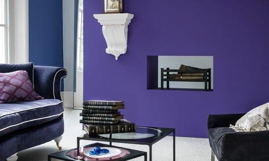 Wandfarbe Lila  Farbgestaltung Wohnzimmer