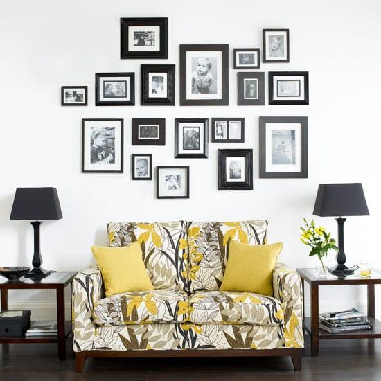 Weiße Wand Mit Schwarzen Bilderrahmen Dekorieren
