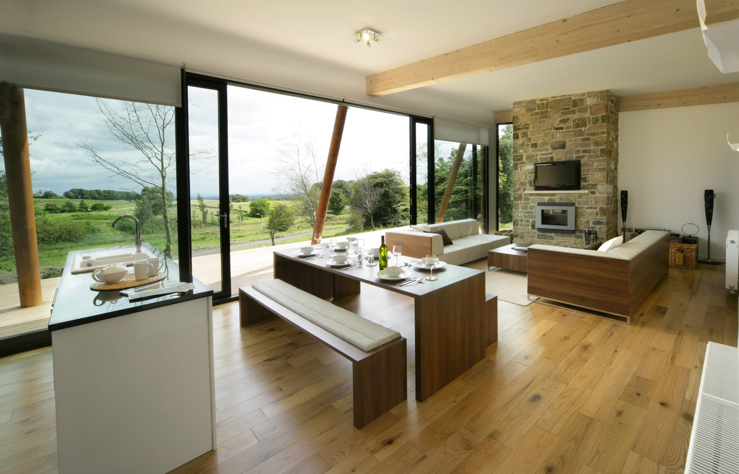 modernes wohnzimmer mit treppe : Wohnesszimmer Modernes Wohnzimmer Freshouse