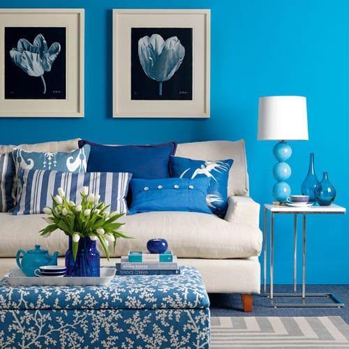 Wohnzimmer Blau-blaue Farbgestaltung