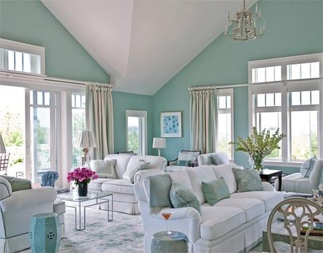 Wohnzimmer Blau Wandfarbe Hellblau Freshouse