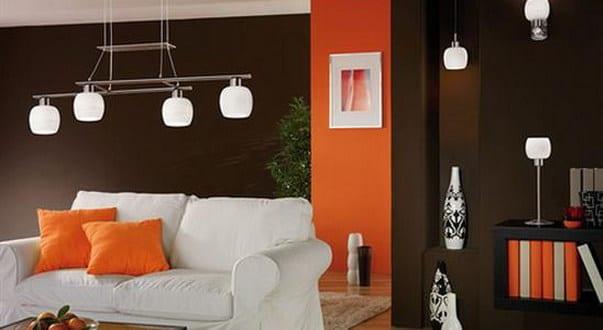 wohnzimmer braun mit wandfarbe orange - fresHouse
