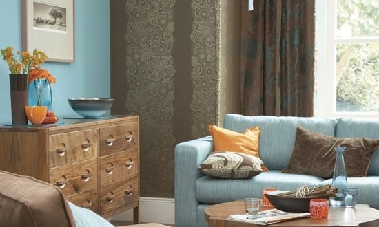 wohnzimmer braun und blau freshouse. Black Bedroom Furniture Sets. Home Design Ideas