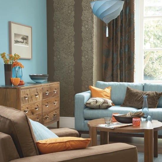Wohnzimmer Blau Braun - Wohndesign -
