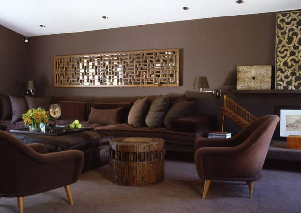 wohnzimmer braun-wandgestaltung ideen - fresHouse