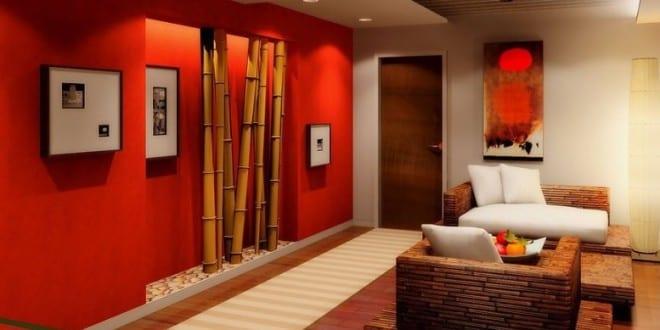 wohnzimmer gestalten-rote wand mit bambus - fresHouse