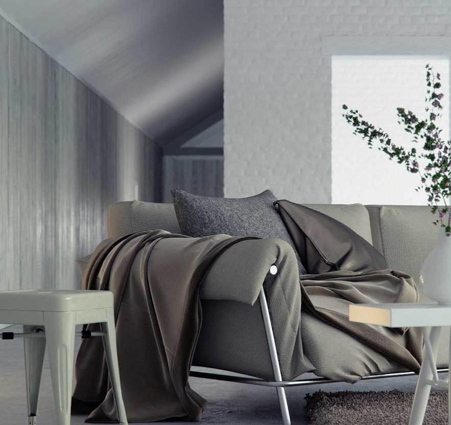 wohnzimmer grau mit sofa und bettdecke grau