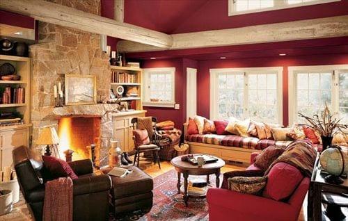 Hervorragend Wohnzimmer Rot Mit Runden Deckenbalken Aus Holz In Weiß