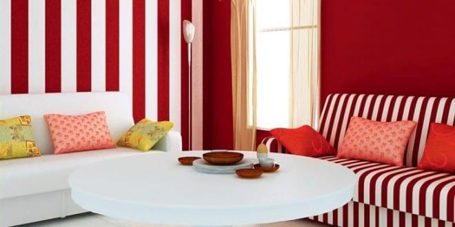 Wohnzimmer Rot Streifen Wohndesign