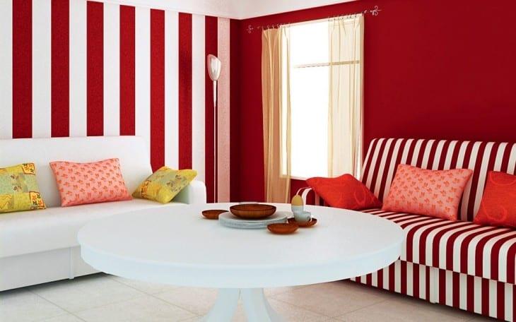 Rote Wände Wohnzimmer Rot Streifen Erstaunlich Wandgestaltung Wohnzimmer  Grau Streifen Uruenavilladellibroinfo ... Charmant Streifen An Der Wand In  Orange, ...