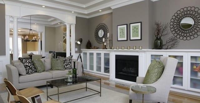wohnzimmer streichen idee-wandfarbe grautöne - freshouse - Wohnzimmer Wandfarbe Ideen