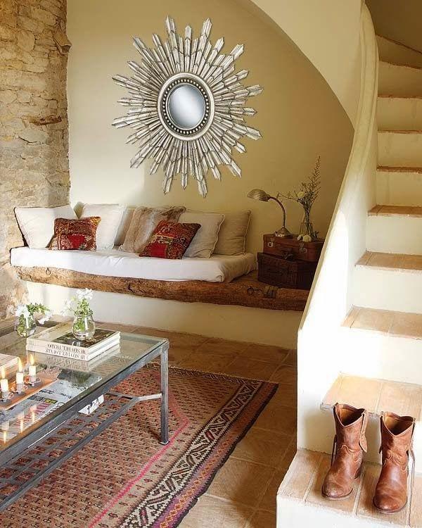 einrichtungsideen kleines wohnzimmer steinwand und sitzecke rustikal freshouse. Black Bedroom Furniture Sets. Home Design Ideas