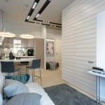 fantastische gestaltung einer Zweiraumwohnung-kleines wohn esszimmer mit laminatboden und teppich grau-kleine küche mit bar und barhickern
