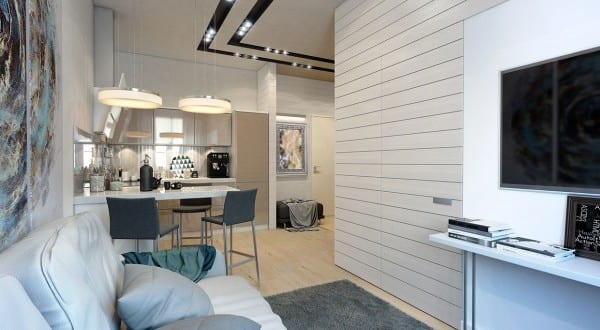 extrem kleine Zweiraumwohnung mit schickem Interieur Design ...