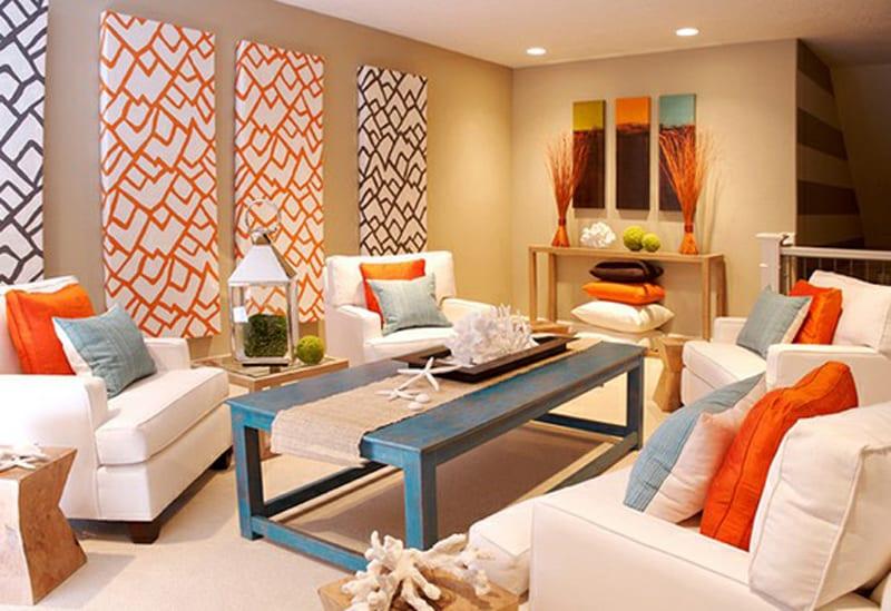 fantastische zimmergestaltung mit akzent in orange und blau-frische ...