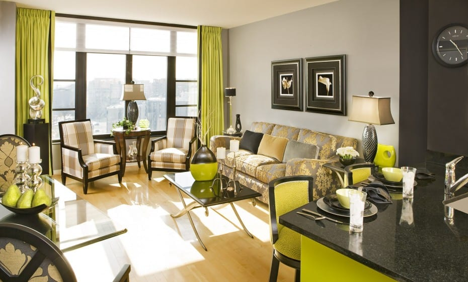 Farbgestaltung Wohn Esszimmer In Grün Und Schwarz - Freshouse