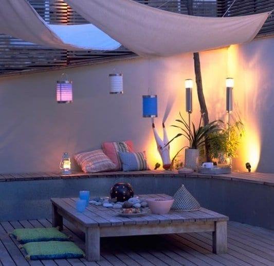 idee f r wpc terrassen mit sonnensiegel beschattung und. Black Bedroom Furniture Sets. Home Design Ideas