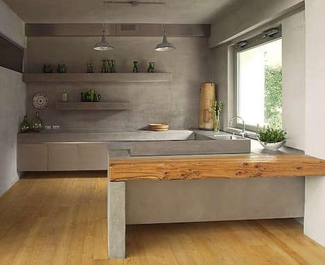 küche interior aus beton-küchenarbeitsplatte aus beton ...
