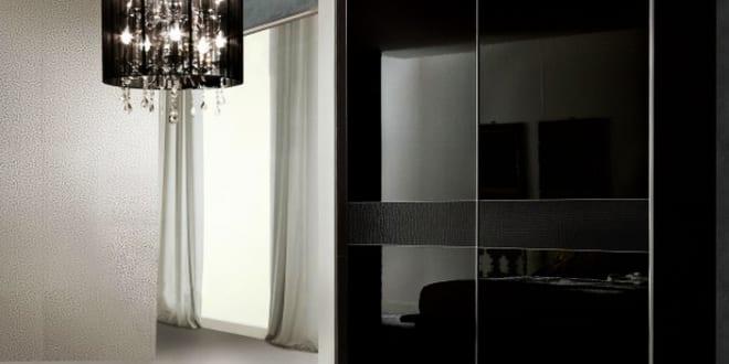 Kleiderschrank schwarz mit schiebet ren schlafzimmer set for Schlafzimmer set schwarz