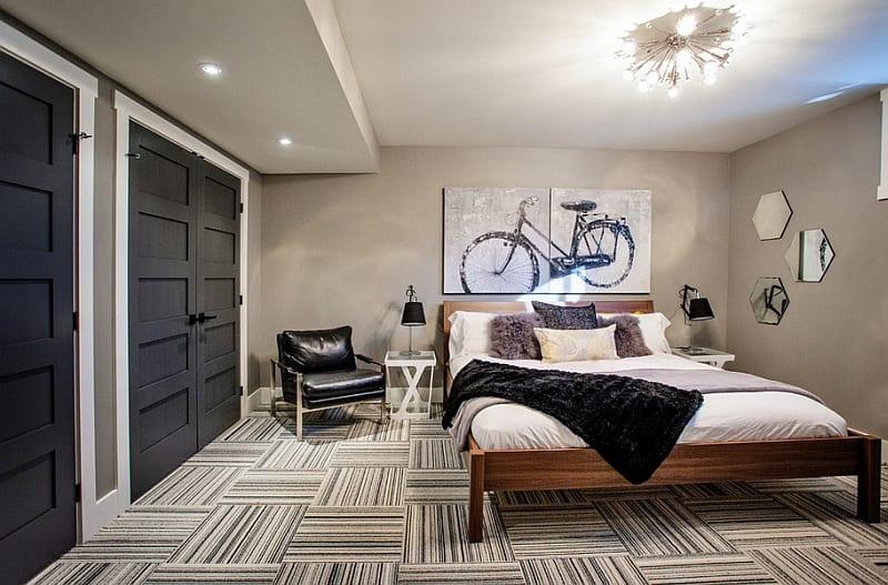 Kleine Schlafzimmer Inspiration Mit Wandfarbe Beige Und Zimmerstüren Schwarz