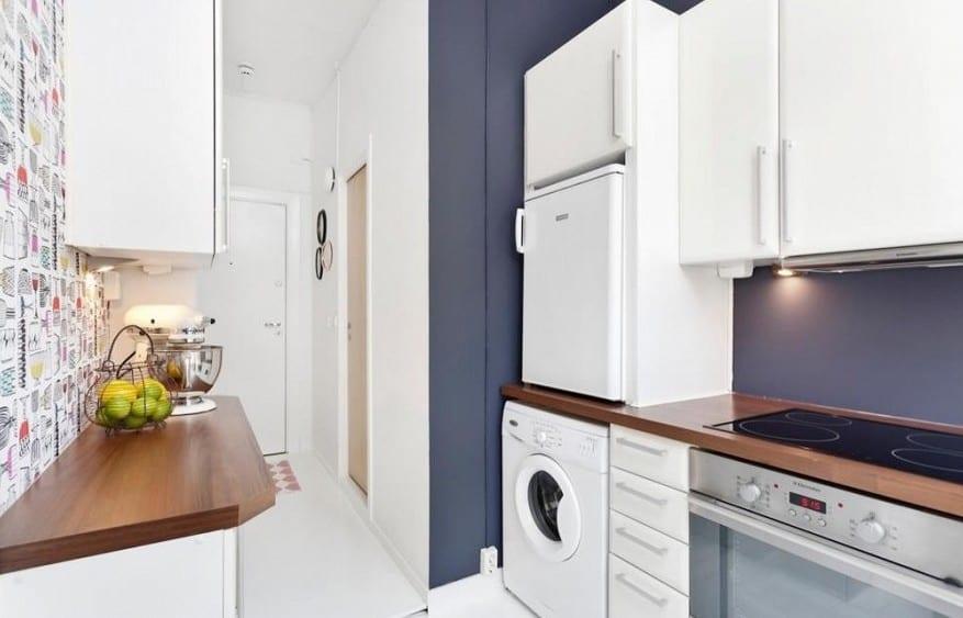 kleines appartement ideen-kleine küche mit wandfarbe grau - fresHouse