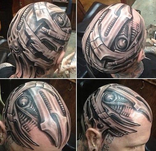 81 Detaillierte Tattoos Am Kopf: Kopf-tattoo-biomechanik