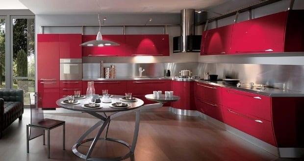 luxus kuche ka 1 4 che rot mit modernem esstisch rund hersteller