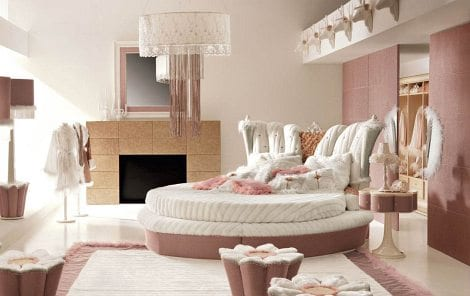 luxus schlafzimmer altrosa mit rundbett moderne. Black Bedroom Furniture Sets. Home Design Ideas