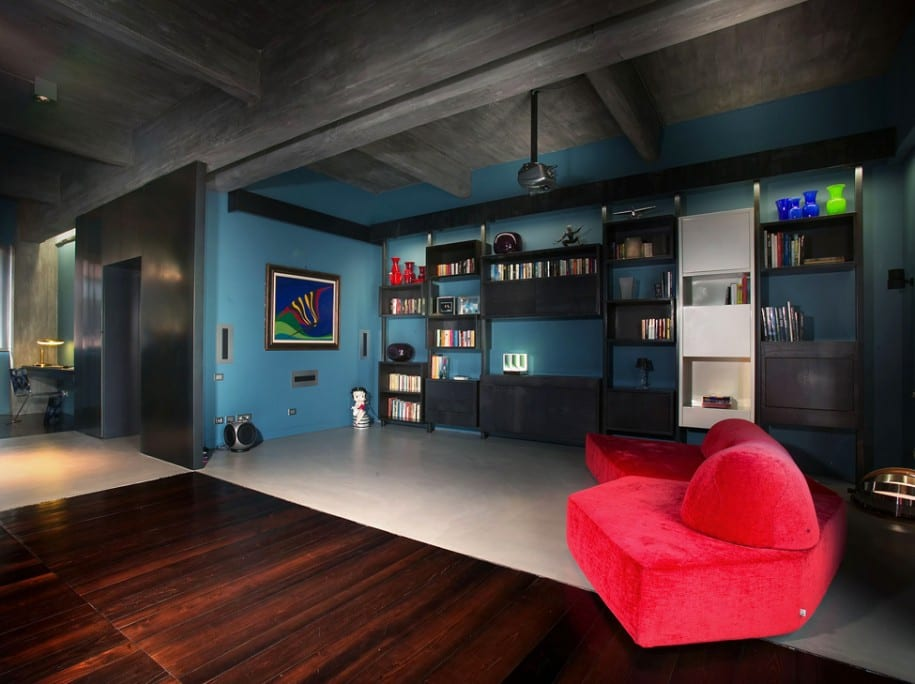 luxus wohnzimmer mit wandfarbe blau und decke aus beton freshouse. Black Bedroom Furniture Sets. Home Design Ideas