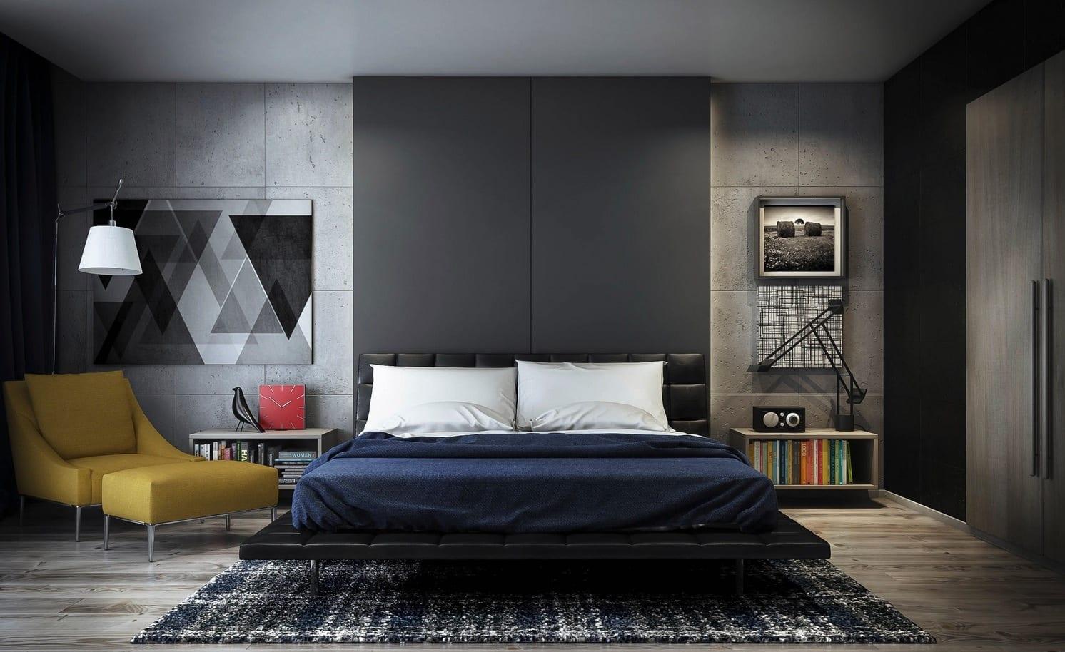 modernes interior aus beton-schlafzimmer grau mit sichtbetonwänden ...