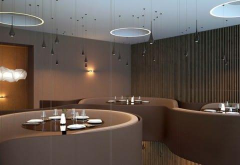modernes restaurant interior design in braun mit runden sitzfl chen deckengestaltung mit. Black Bedroom Furniture Sets. Home Design Ideas