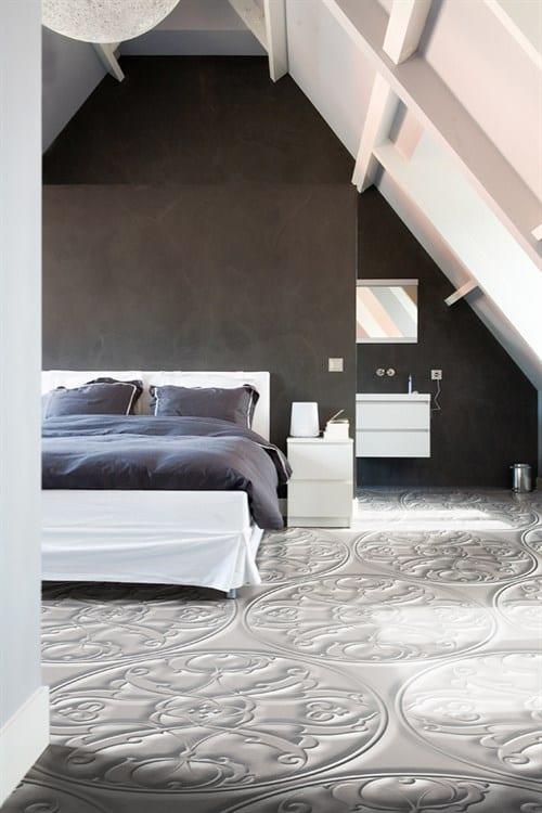 Hervorragend modernes schlafzimmer mit modernem Bodenbelag in 3D optik - fresHouse UF85