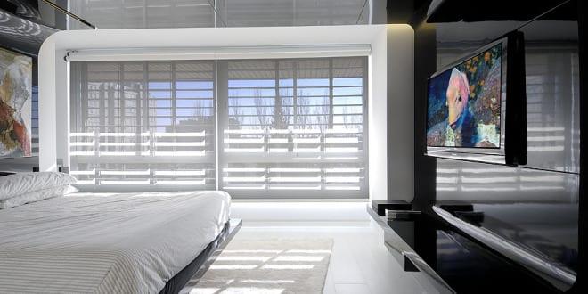 Modernes Schlafzimmer Schwarz Weiß-Maisonette Raumgestaltung