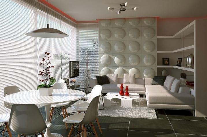 Modernes Wohn Esszimmer Weiß