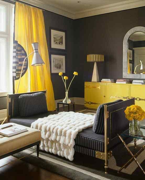 GroB Modernes Wohnzimmer Grau Mit Gardinen Gelb
