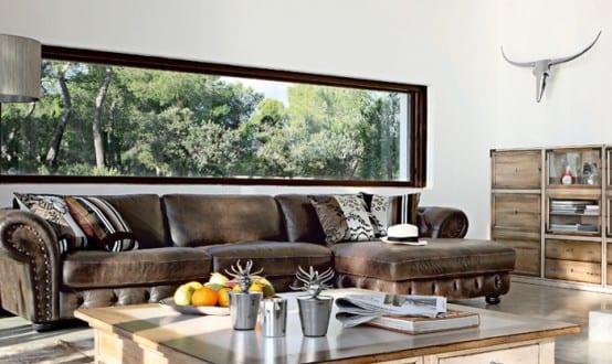 Ledercouch braun wohnzimmer  modernes wohnzimmer inspirationen mit fensterband und ledersofa ...