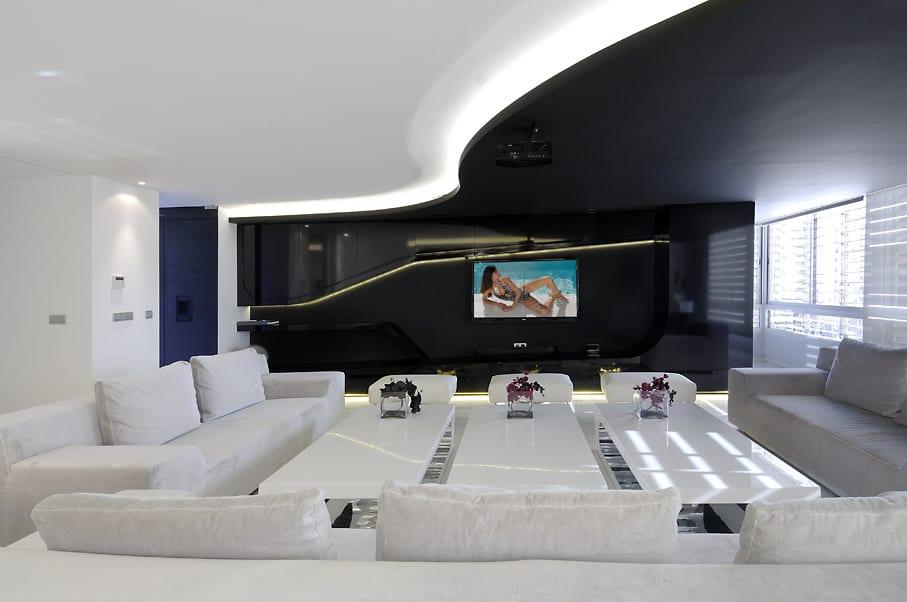 Modernes Wohnzimmer Interior Einer Maisonette