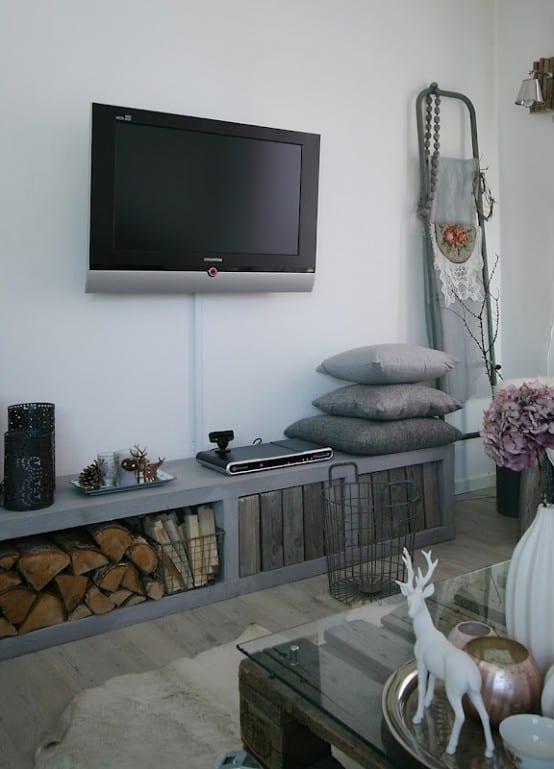Diy Wohnzimmer | Modernes Wohnzimmer Mit Sideboard Grau Und Diy Couchtisch Aus