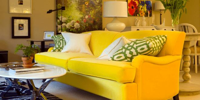 Modernes wohnzimmer mit sofa gelb freshouse - Wohnzimmer gelb ...