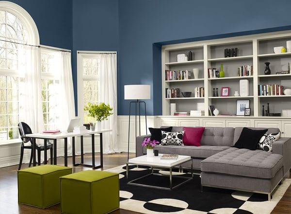 Wandfarben Wohnzimmer Modern: Modernes Wohnzimmer Mit Wandfarbe Blau-streichen