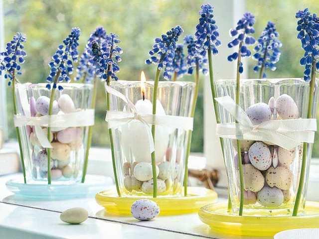 Ostern 2015 Tischdeko Mit Blauen Blumen Freshouse